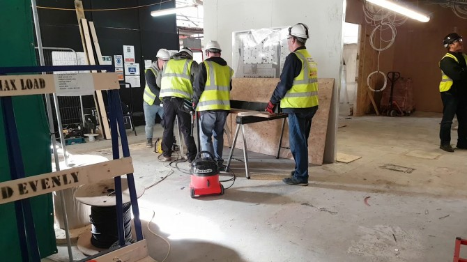 Numatic on a building site – vacuuming saw dust